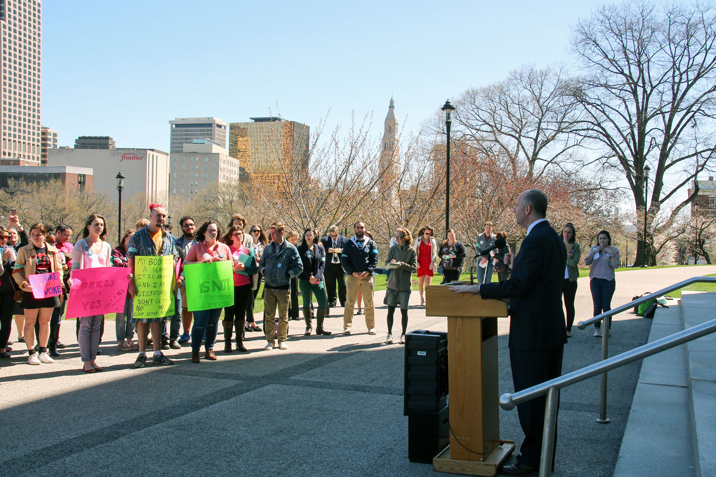 Rep. Haddad Speaks at a Rally for Affirmative Consent