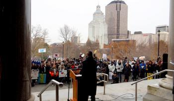 Rep. Gibson at Youth Climate Strike, Dec. 6, 2019